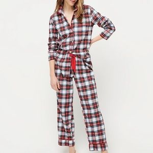 J. Crew Flannel Pajamas in White-Out Plaid XL